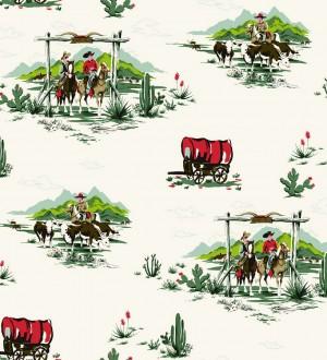 Papel pintado campamento vaquero y cowboys infantiles The Western 7324