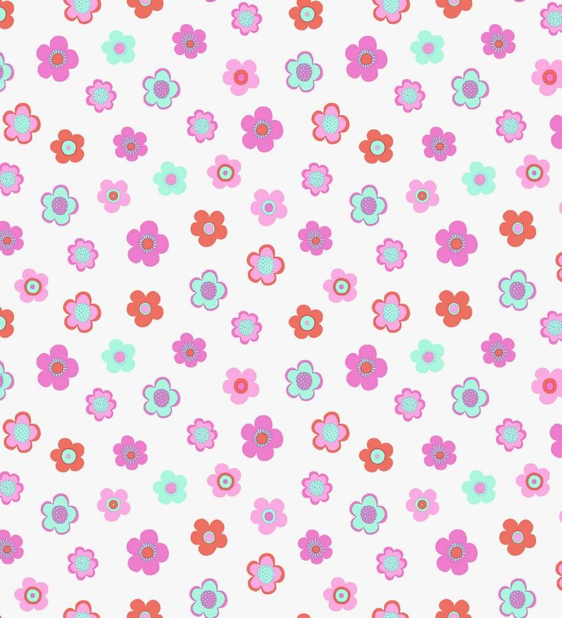 Papel pintado flores pequeñas infantiles tonos rosas y celestes Merce 7350