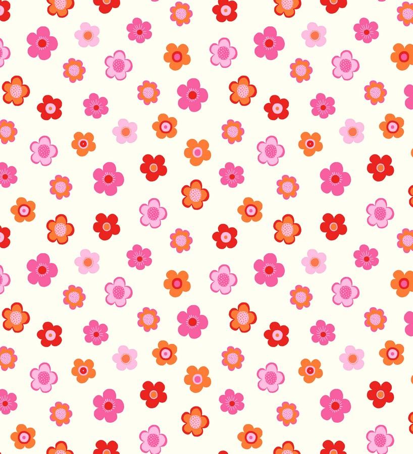 Papel Pintado Flores Infantiles Tonos Rojos Y Anaranjados Merce 7351