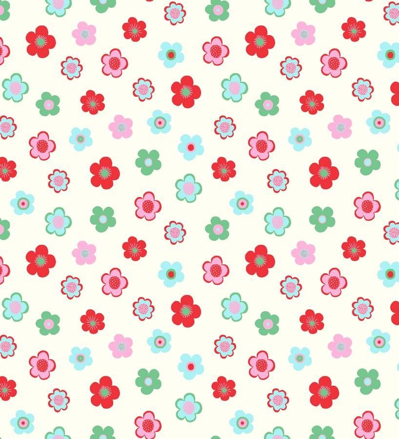 Papel pintado flores pequeñas infantiles tonos rojos y verdes Merce 7352