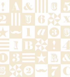 Papel pintado patchwork infantil de letras y números Roman 7353
