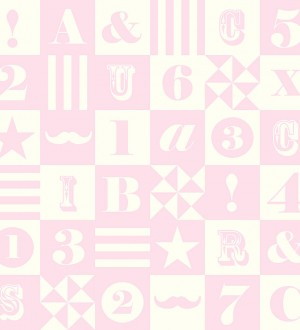 Papel pintado patchwork infantil de letras y números Roman 7354