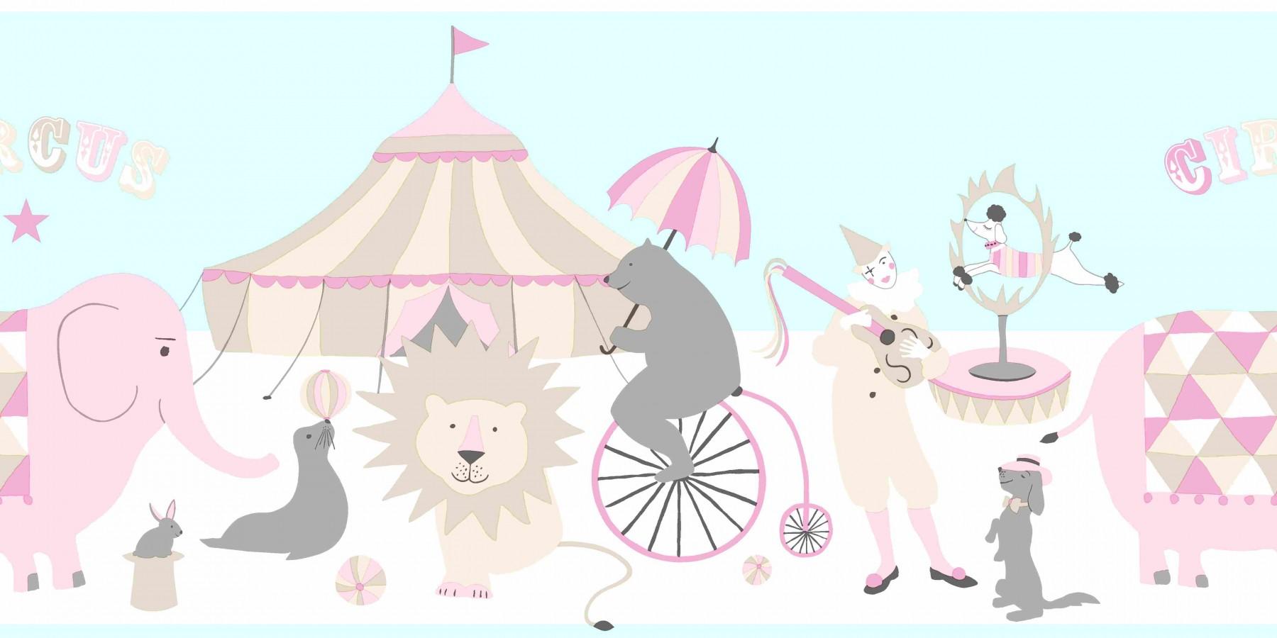 Cenefa para dormitorios infantiles motivos del circo Le Cirque 7364