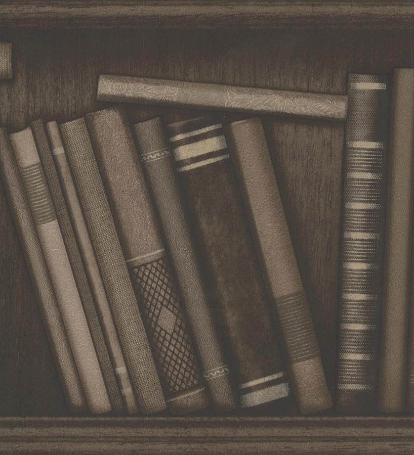 Papel pintado librería de libros antiguos vintage marrón claro Library 7399