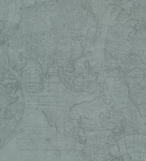 Papel pintado mapa cartográfico vintage fondo agua marina pálido Esquivel 7402