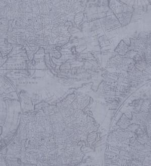 Papel pintado mapa cartográfico fondo azul grisáceo claro Esquivel 7403