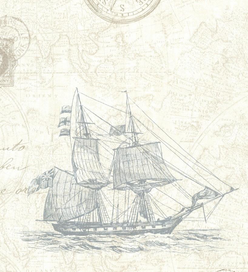 Papel pintado barcos con mapas cartográficos fondo beige claro Narváez 7406