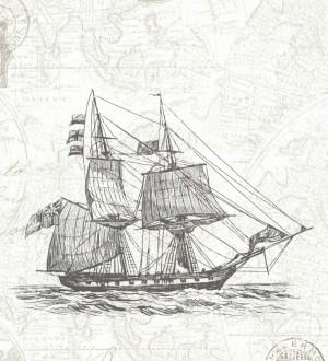 Papel pintado barcos con mapas cartográficos fondo nude claro Narváez 7409