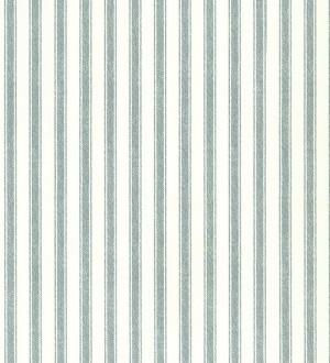 Papel pintado rayas efecto textil agua marina pálido y blanco roto Raya Narváez 7411
