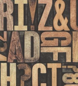 Papel pintado letras grandes de madera diseño imprenta Corbel 7414