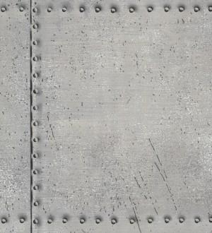 Papel pintado chapa con tachuelas metálicas gris perla metalizado Tanit 7415