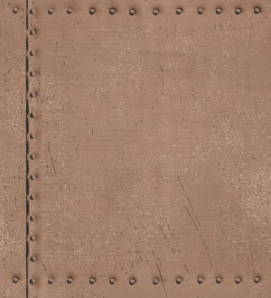 Papel pintado chapa con tachuelas metálicas marrón camel Tanit 7416