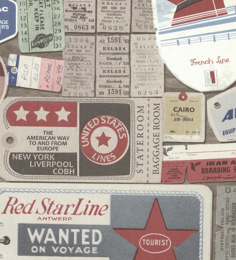 Papel pintado vintage tickets de viajes Oneil 7422