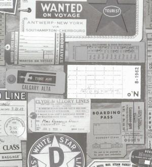 Papel pintado vintage tickets de viajes blanco y negro Oneil 7423