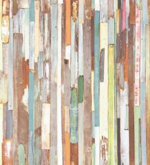 Papel pintado listones de madera estilo tropical Algarve 7445