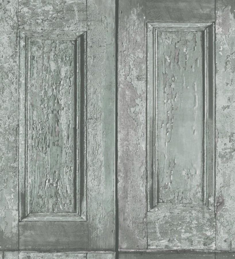 Papel pintado cuarterones verde grisaceo imitando puertas de madera Ribamar 8341