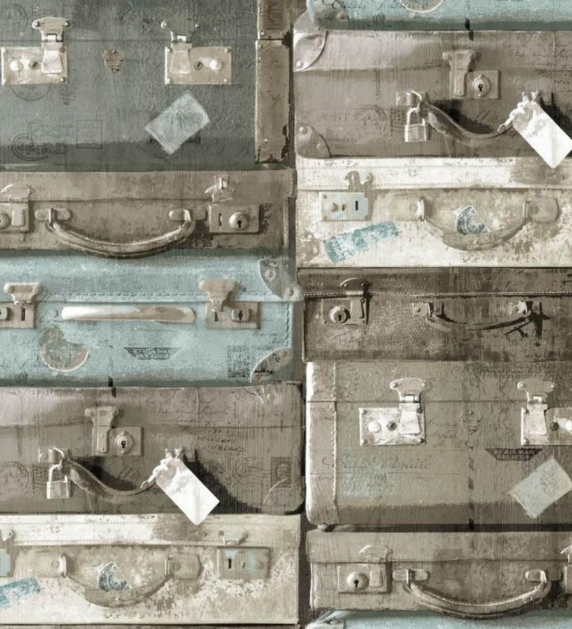 Papel pintado maletas de viaje vintage celeste aguamarina Allegra 8342
