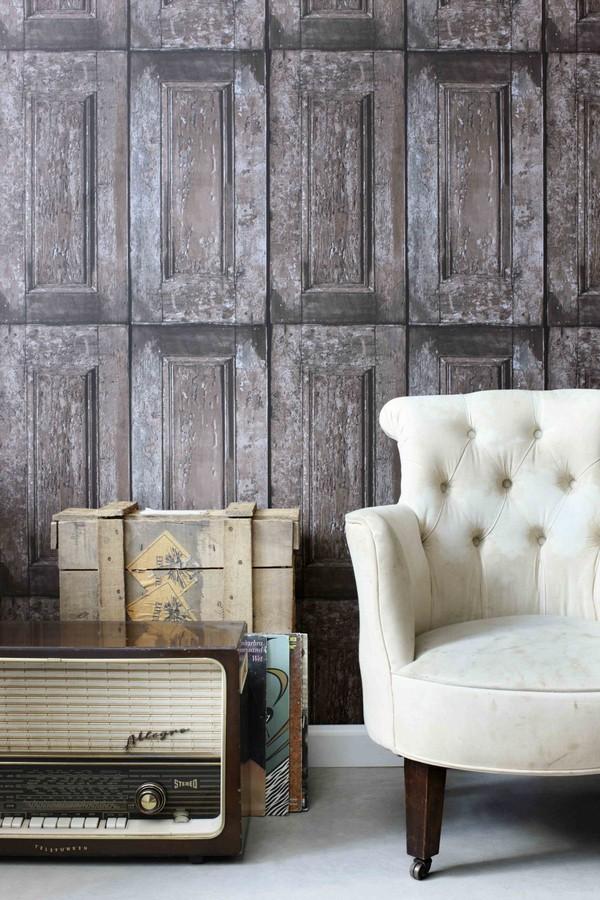 Papel pintado cuarterones imitando puertas de madera for Papel pintado puertas
