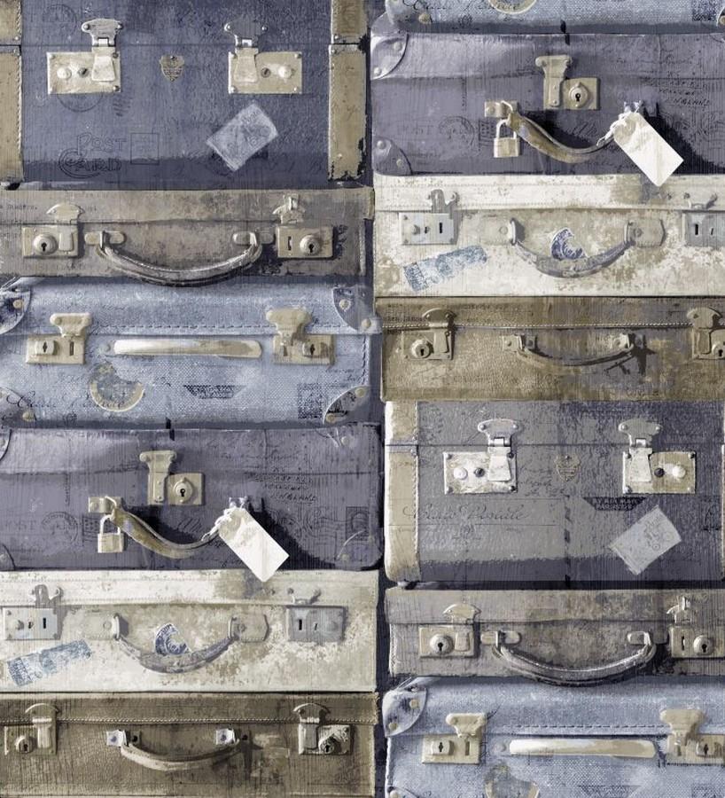 Papel pintado maletas de viaje vintage azul grisáceo claro Allegra 8357