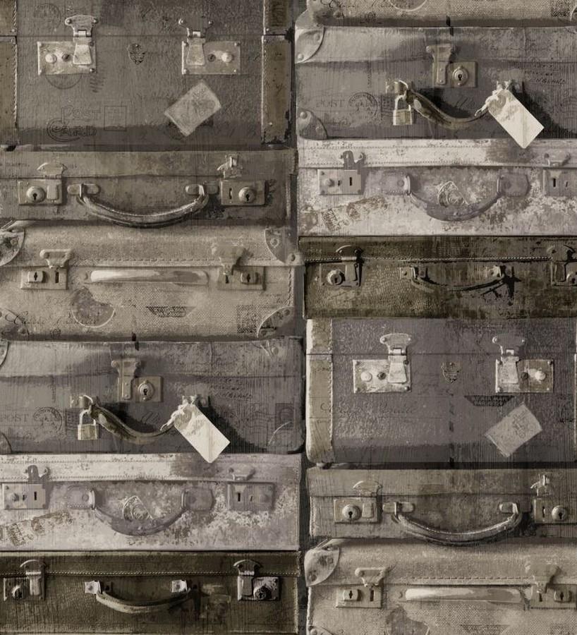 Papel pintado maletas de viaje vintage marrón claro Allegra 8359