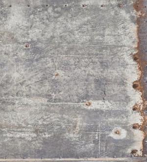 Papel pintado chapa metálica industrial gris Roano 8360