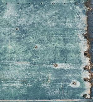 Papel pintado chapa metálica industrial verde jade Roano 8362