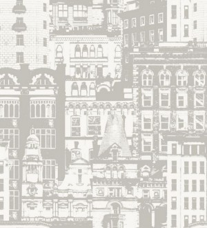 Papel pintado edificios de ciudades gris fondo blanco roto Morley 8365