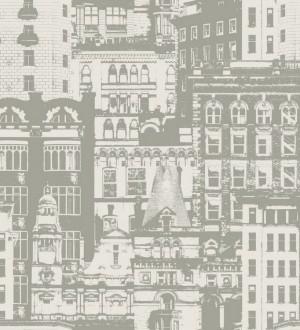 Papel pintado edificios de ciudades fondo blanco roto Morley 8366