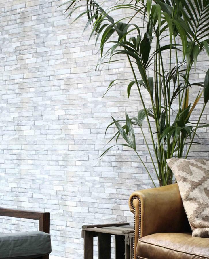 Papel pintado ladrillo de madera gris claro minimalista Kenwood 8381
