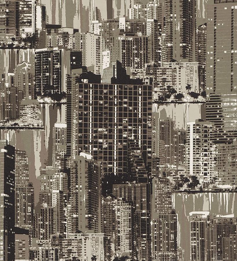 Papel pintado edificios del skyline tonos sepia Beever 8784