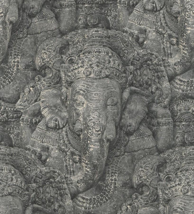 Papel pintado dios hindú Ganesha Shabby Chic gris oscuro Chaisia 8809