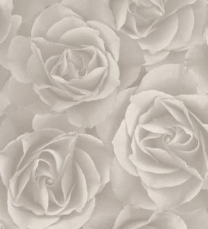 Papel pintado rosas grandes modernas gris claro Cídipe 8811