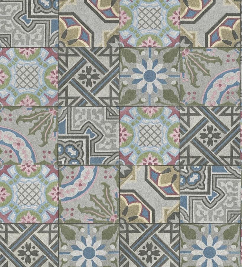 Papel pintado mosaico rabe de azulejos multicolor - Papel pintado sobre azulejos ...