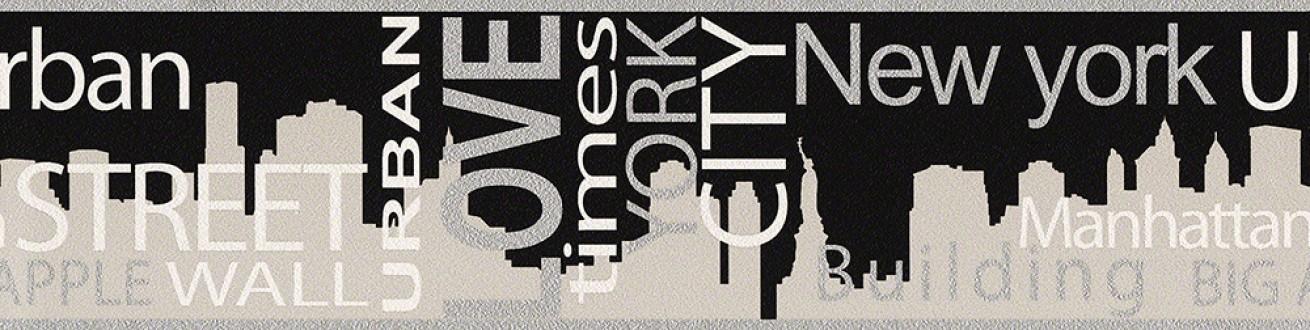Cenefa ciudad Nueva York blanco y negro con letras New York 4 451697