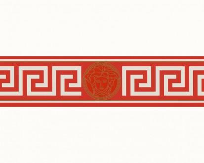 Cenefa estilo romano rojo con cabeza de medusa dorado Flavio 453379