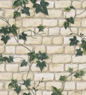 Papel pintado muro de ladrillo con plantas enredadera verde oscuro Cassinia 453911