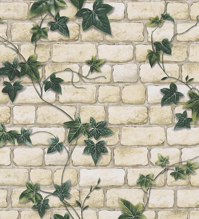Papel pintado muro de ladrillo con plantas enredadera - Cenefas papel pintado para paredes ...