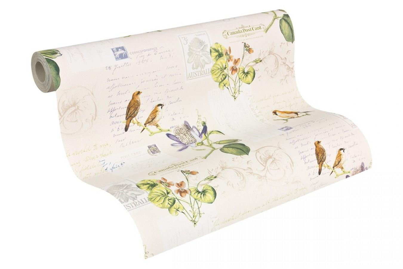 Papel pintado collage romántico de pájaros y postales La Poste 453908