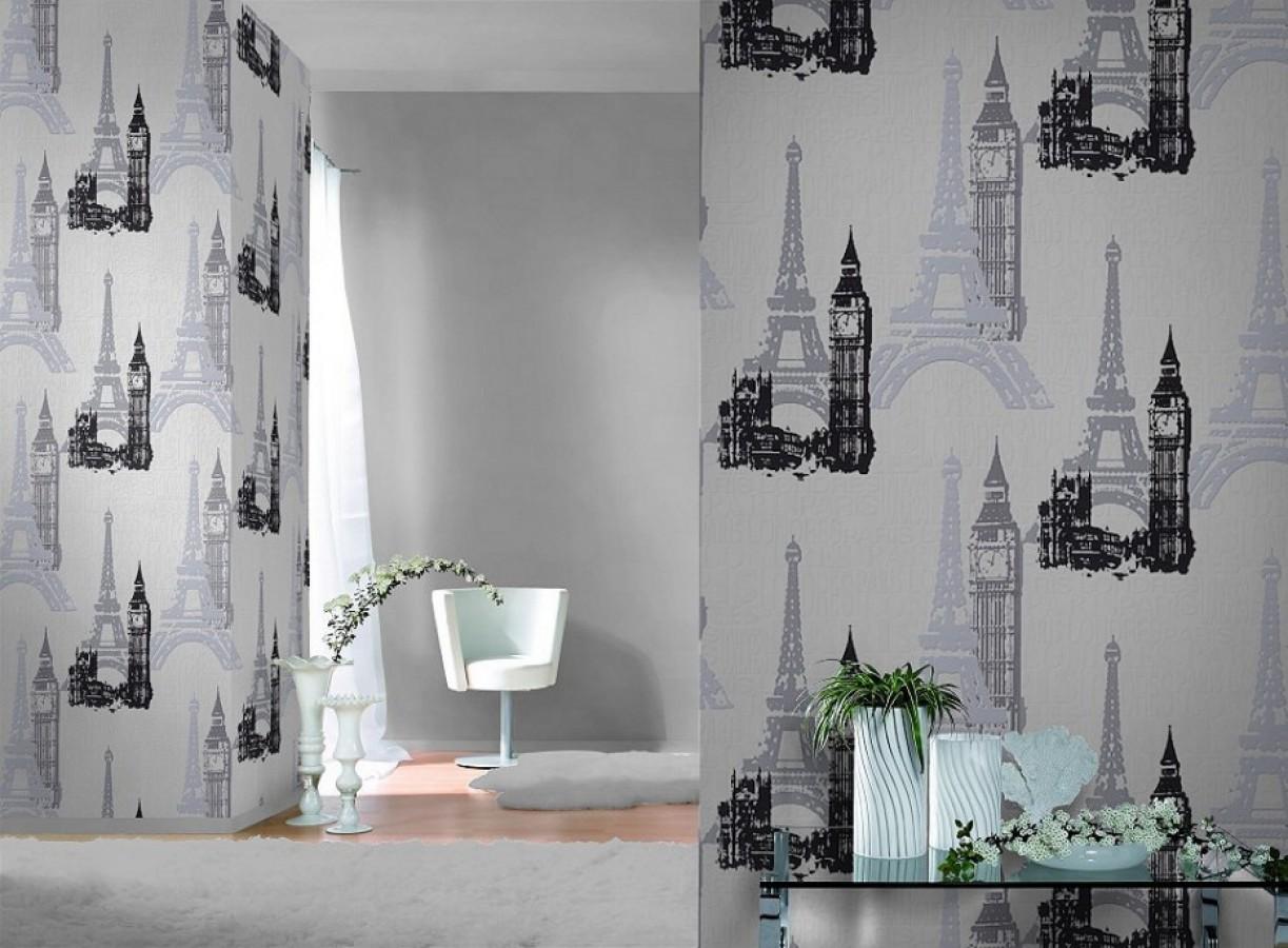 Papel pintado monumentos de París y Londres blanco y negro París & London 6277