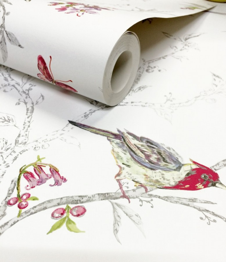Papel pintado pájaros en ramas de árbol fondo blanco Birdie 564683