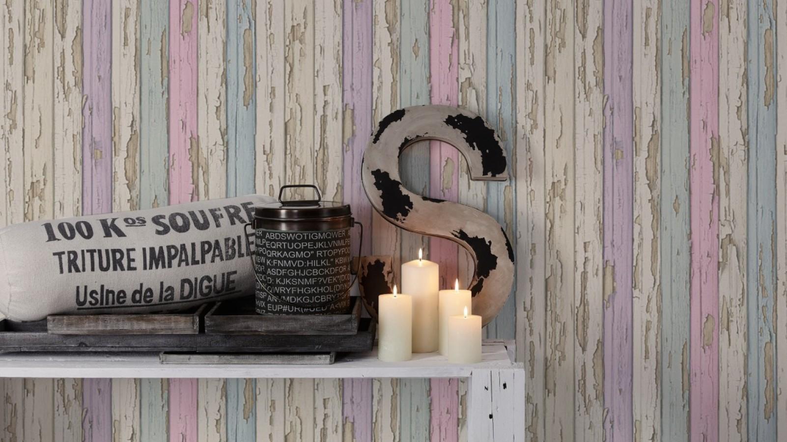 Papel pintado madera decapada violeta y turquesa claro estilo vintage Almate 453885