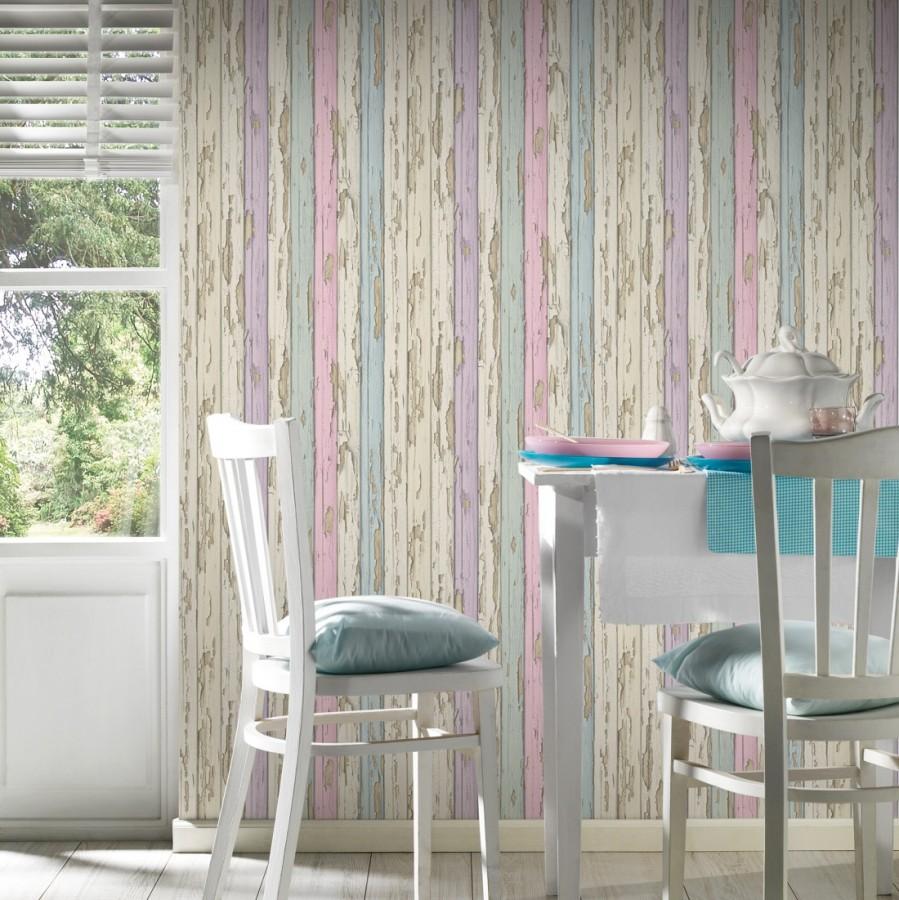 Papel pintado madera decapada violeta y turquesa claro - Papel vintage pared ...