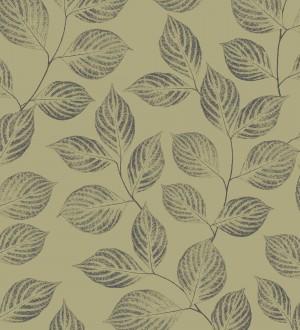 Papel pintado hojas modernas diseño chic fondo verde caqui Samanea 228444