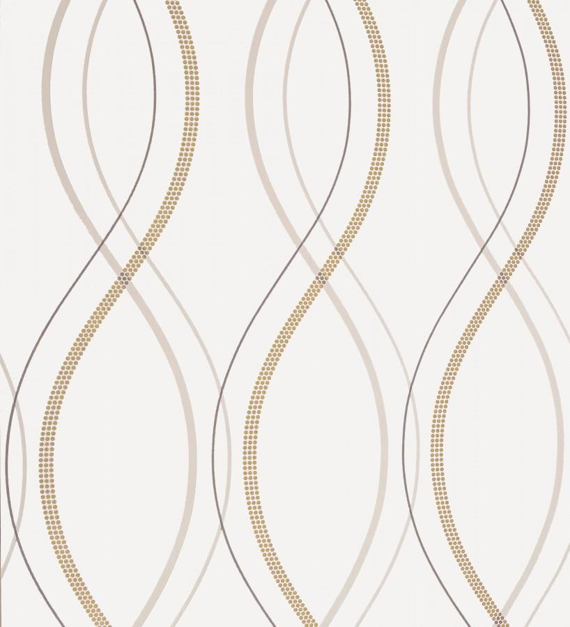 Papel pintado líneas curvas geométricas marrón tostado Freund 339887