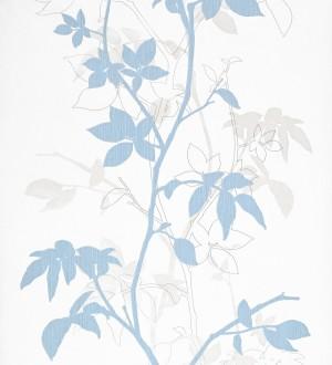 Papel pintado ramas verticales con hojas celeste grisáceo Betula 340302