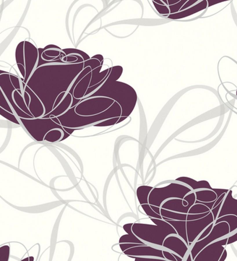 Papel pintado con flores y trazos modernos morado arcilla fondo blanco Anaís 421500