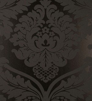 Papel pintado damasco ornamental de corte victoriano negro Senso 421504