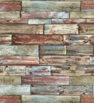 Papel pintado de madera raida y decapada multicolor Habana 421505