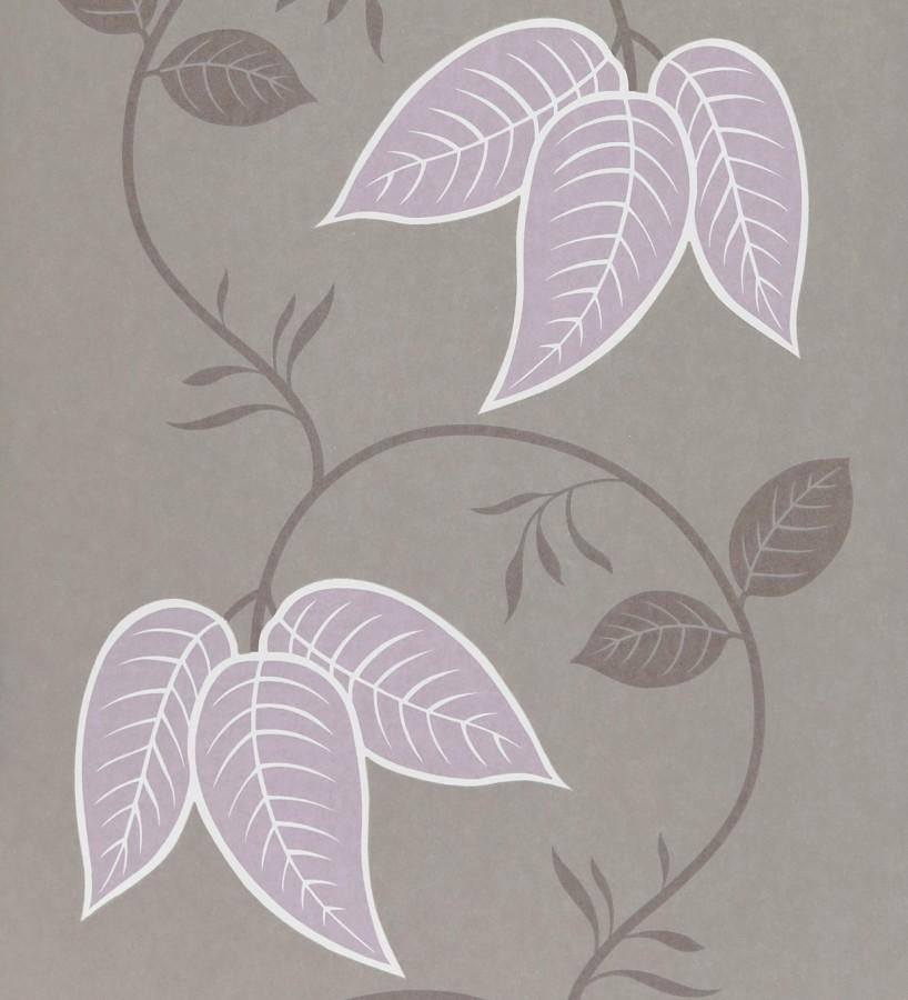Papel pintado con hojas grandes de fresno rosa claro fondo beige Tabita 421513