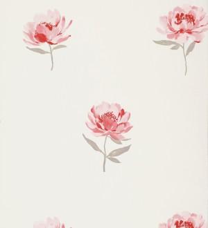 Papel pintado con flores vintage rojo intenso fondo blanco Armony 421516
